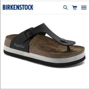 "Lightly worn Birkenstock ""GIZAH"" platform sandals"